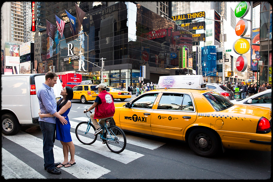 new york times square wedding couple yellow cab photo