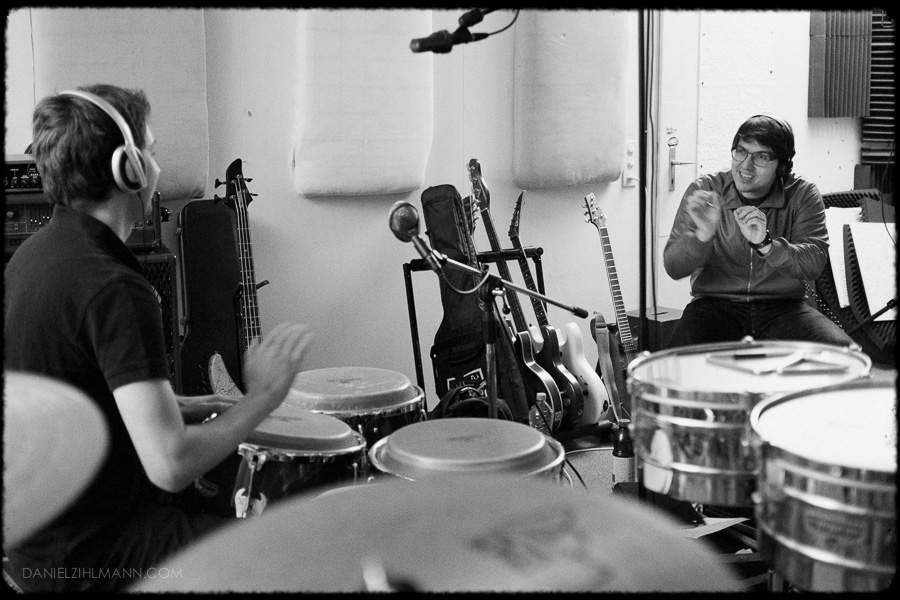 Alternative Music Photographer Recording Session Black And White