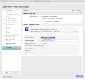 Setting up the WifiImporter plugin in Lightroom's Plug-in Manager (credit: danielzihlmann.com)